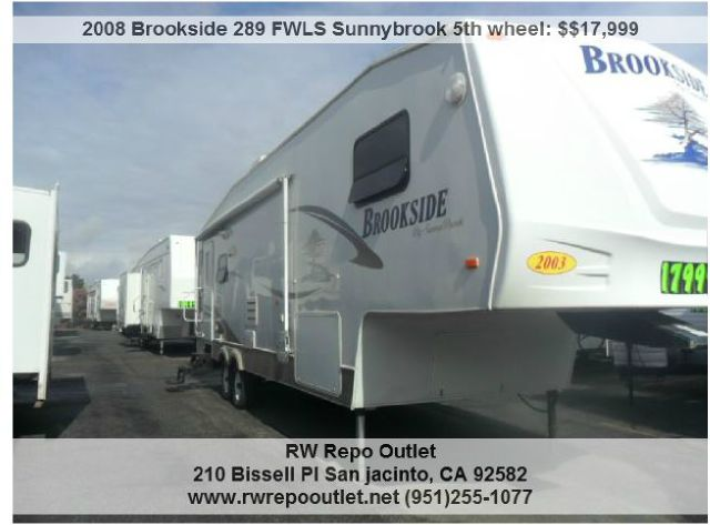 2008 Brookside 289 FWLS Sunnybrook 5th wheel